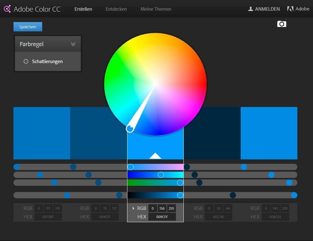Die Adobe Kuler Benutzeroberfläche