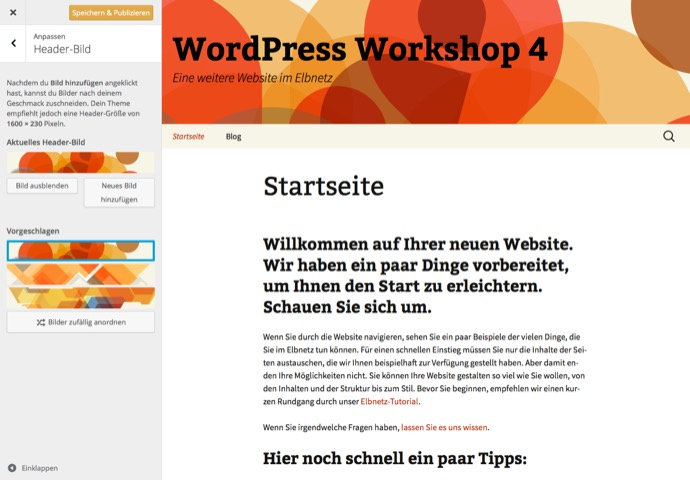 Live Ansicht WordPress Customizer