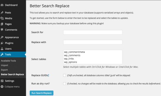 Die Benutzeroberfläche des Better search replace Plugins