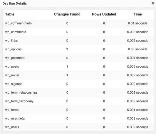 Testdurchlauf des Better search replace Plugins