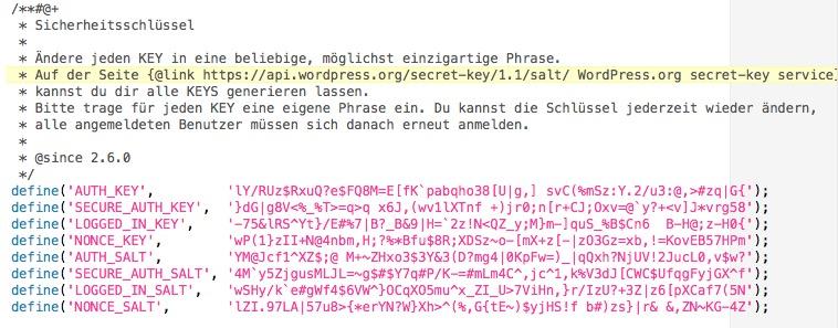 Sicherheitsschlüssel bei WordPress anlegen