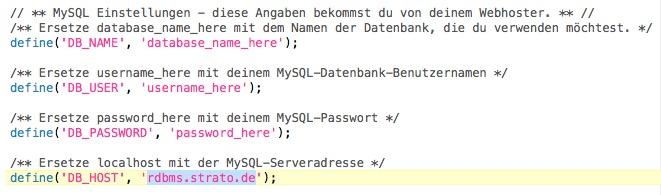 WordPress MySQL-Einstellungen bei STRATO