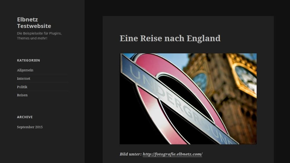 Die Website in der Browser-Ansicht
