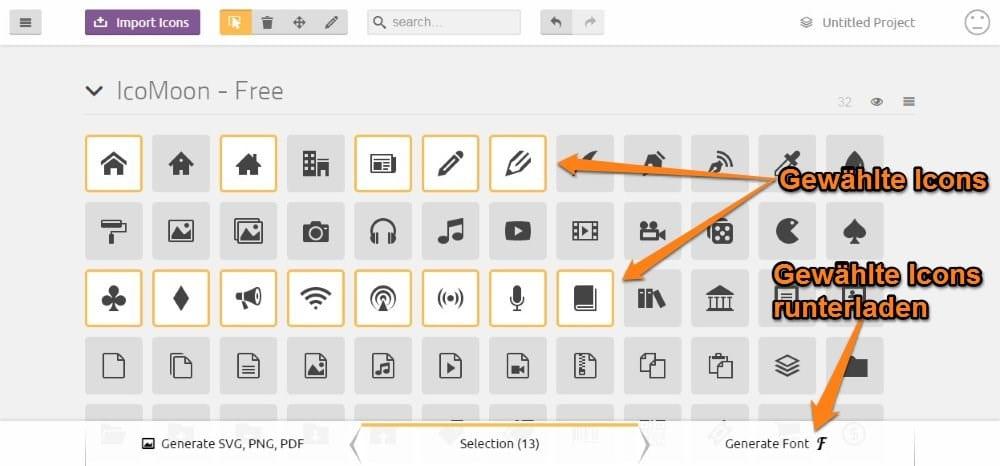 IcoMoon eigene Font-Auswahl