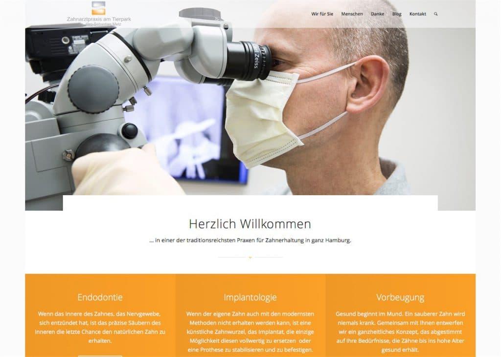 Screenshot der Startseite zahnarztpraxis-am-tierpark.de