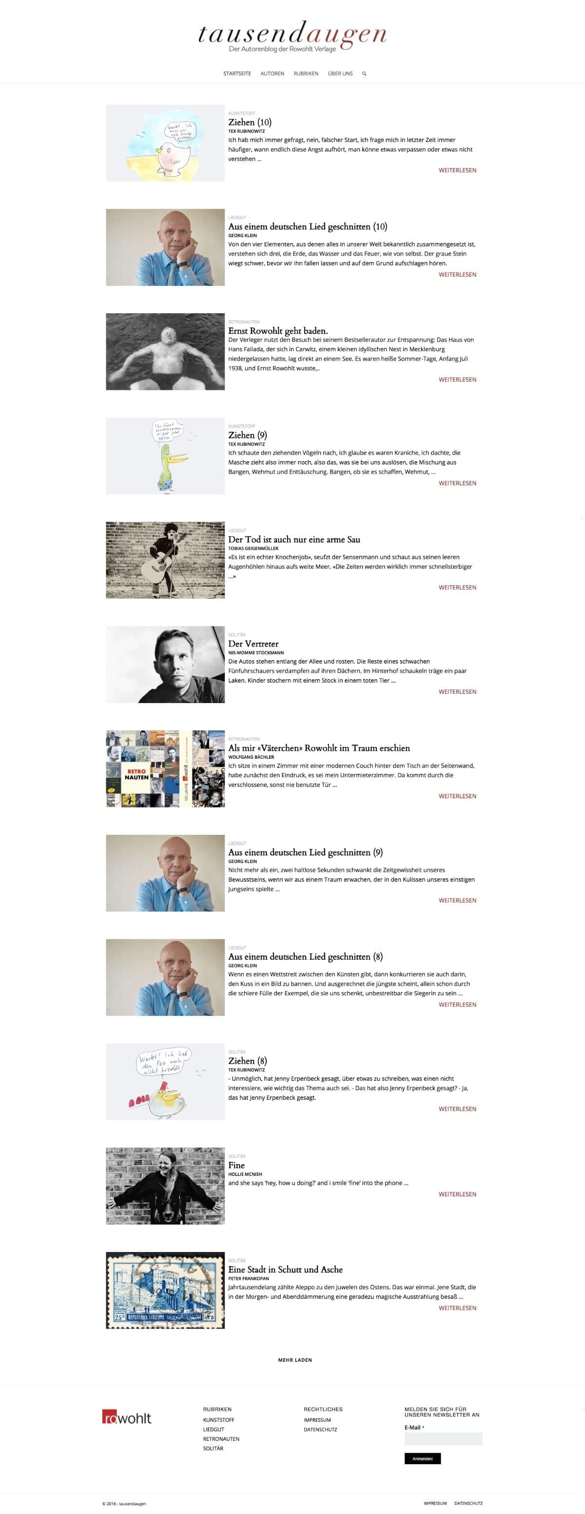 Website Rowohlt Tausendaugen