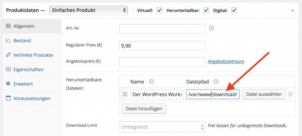 Sicheres Downloadverzeichnis für WooCommerce