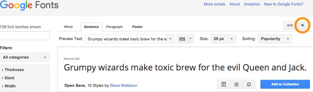 Von Google Fonts herunterladen