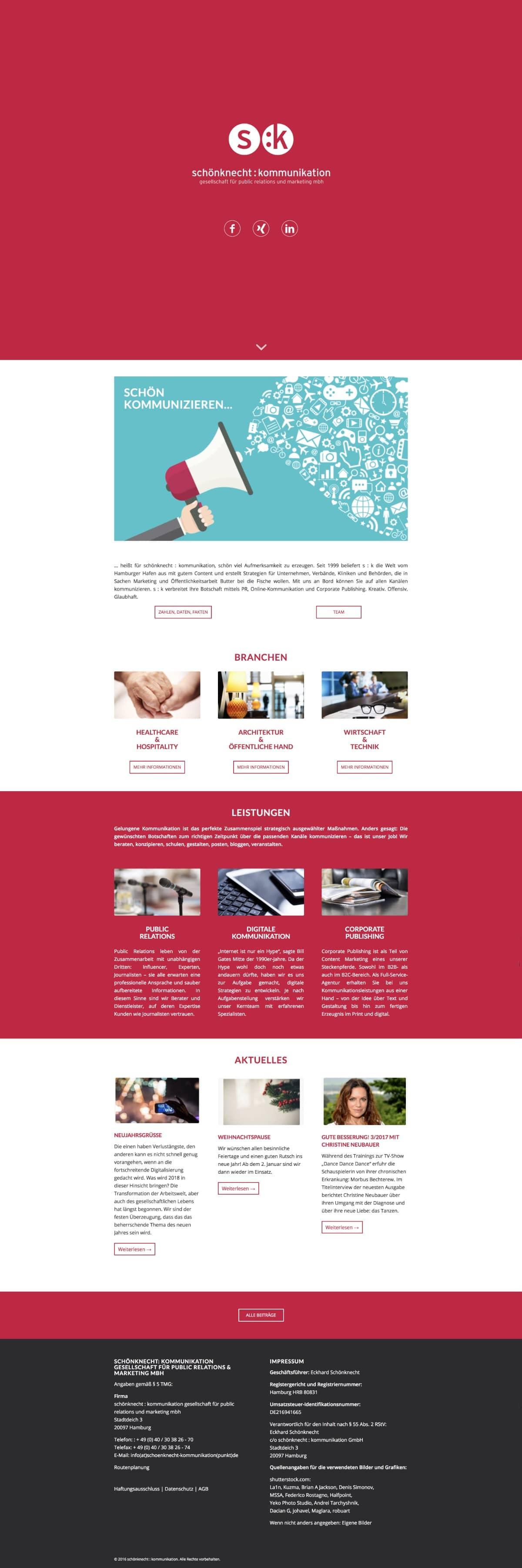Website Schönknecht Kommunikation