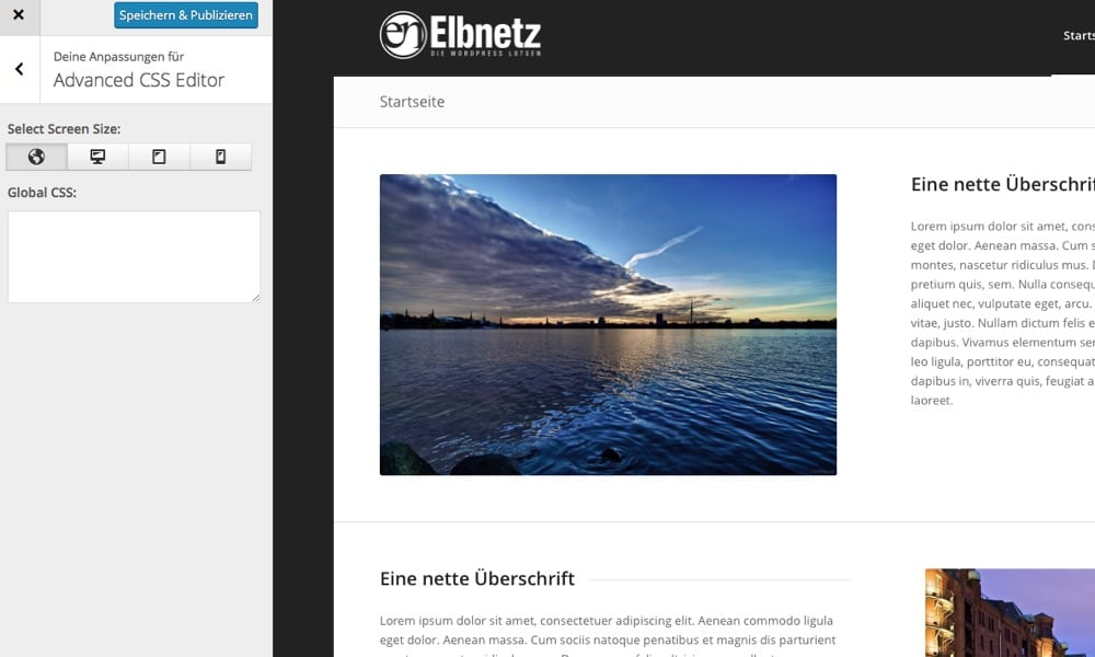Das Aussehen des Advanced Editors in WordPress