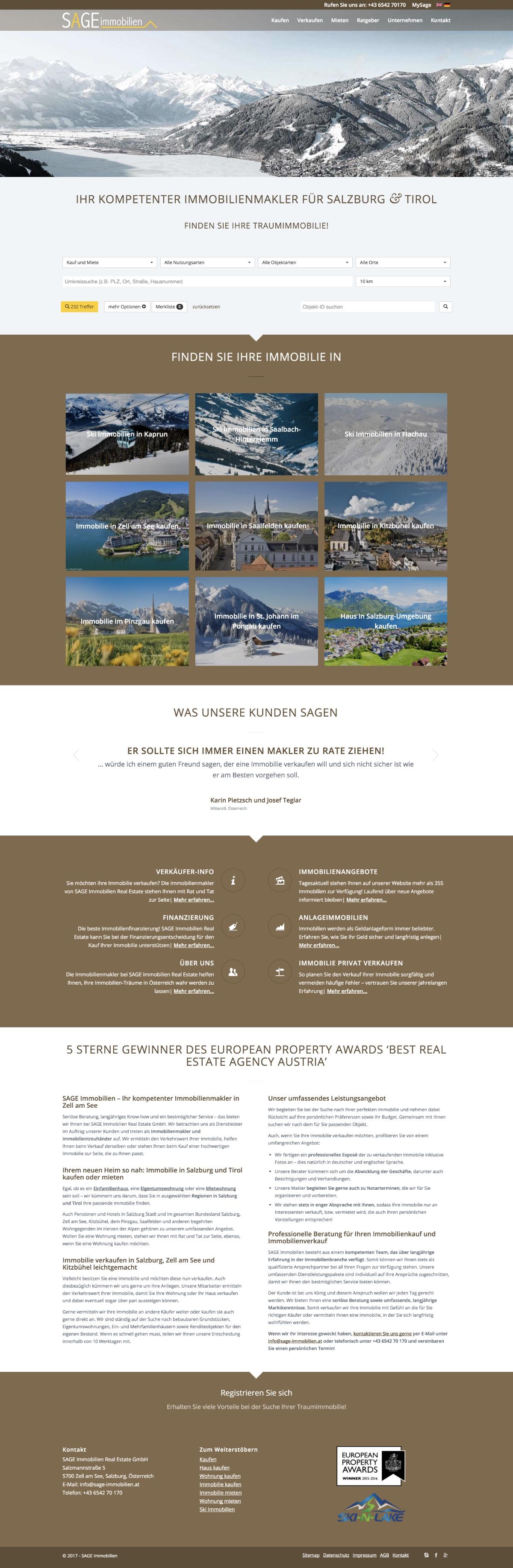 Website SAGE Immobilien Österreich