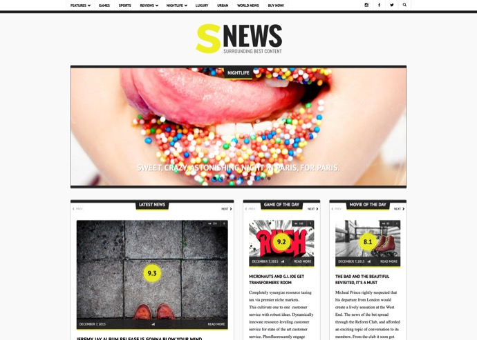 SNEWS - Eye-catching Magazine, Reviews & Newspaper WordPress Theme