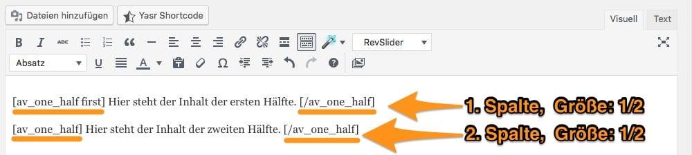 Pagebuilder Spalten am Beispiel von Enfold