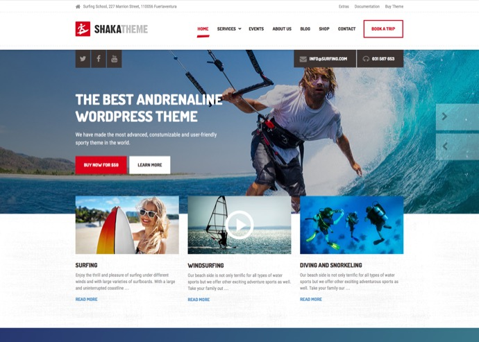 Shaka - A beach business WordPress theme for water sport and activity schools. Surf, kayak and more