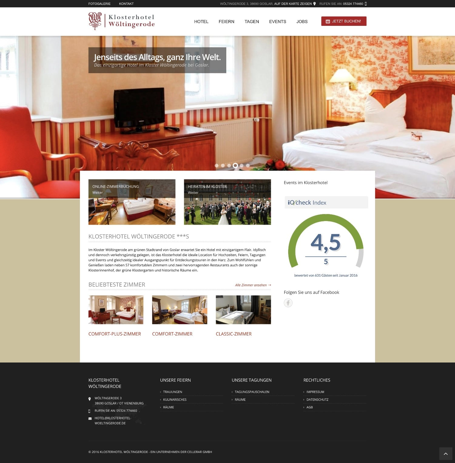 Website Klosterhotel Wöltingerode