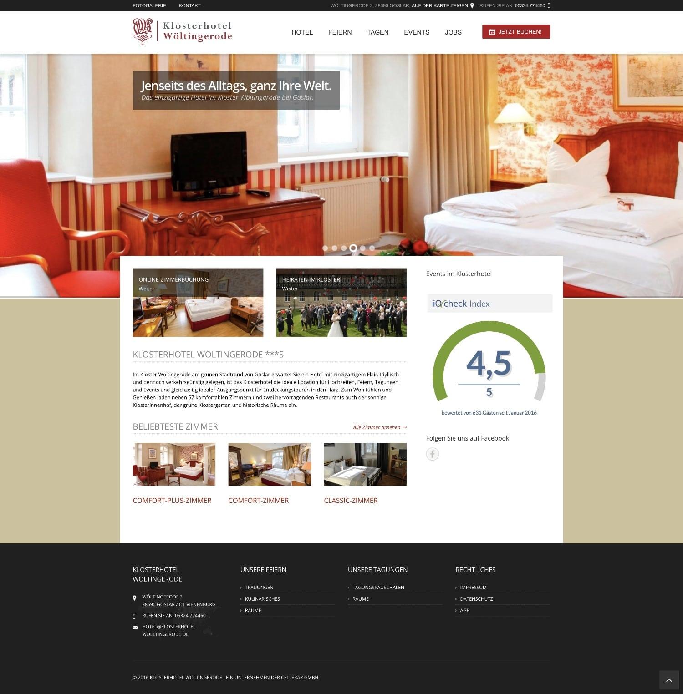Website Klosterhotel Wöltingerode