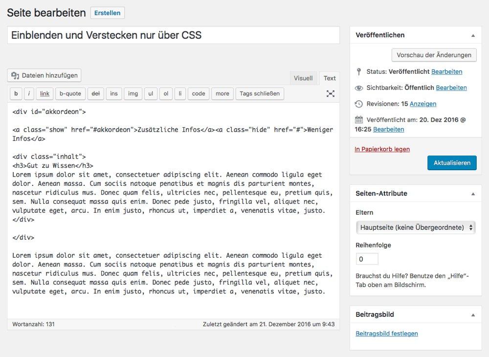 Der Code im Text-Editor der Seite