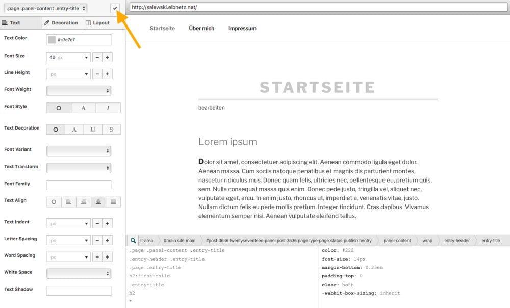 SiteOrigin CSS Aenderungen vornehmen