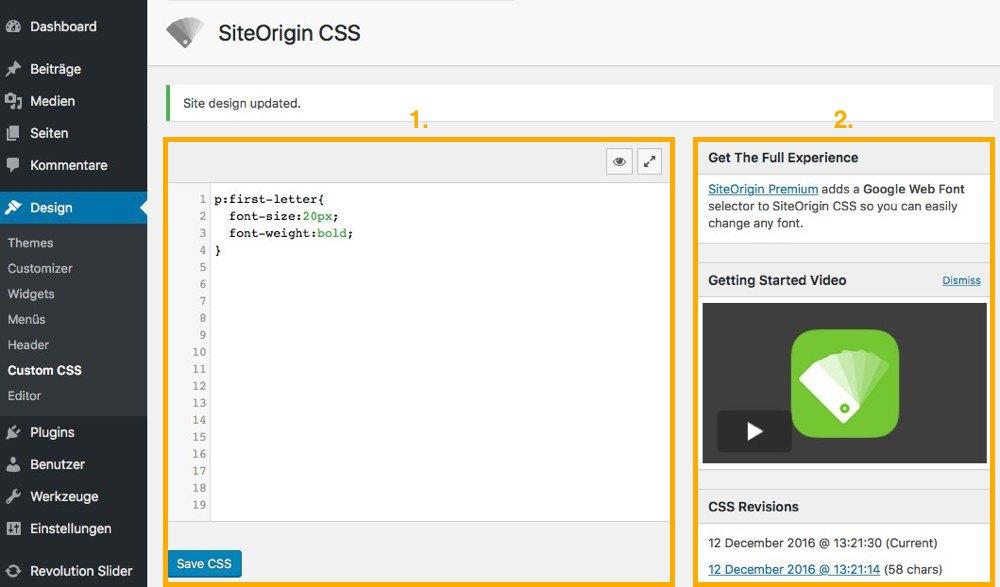 SiteOrigin CSS Bereiche