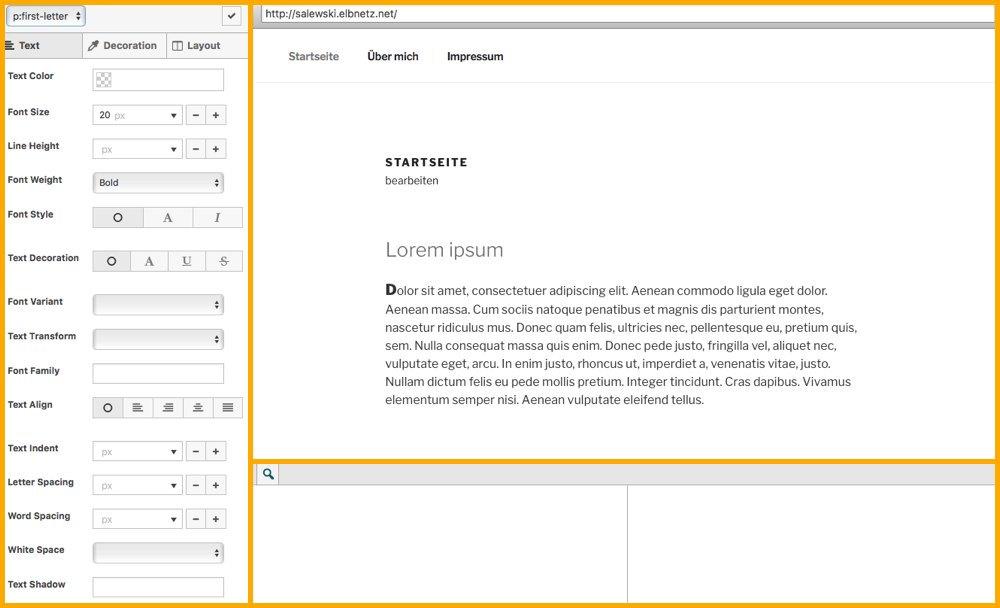 SiteOrigin CSS Visueller Modus