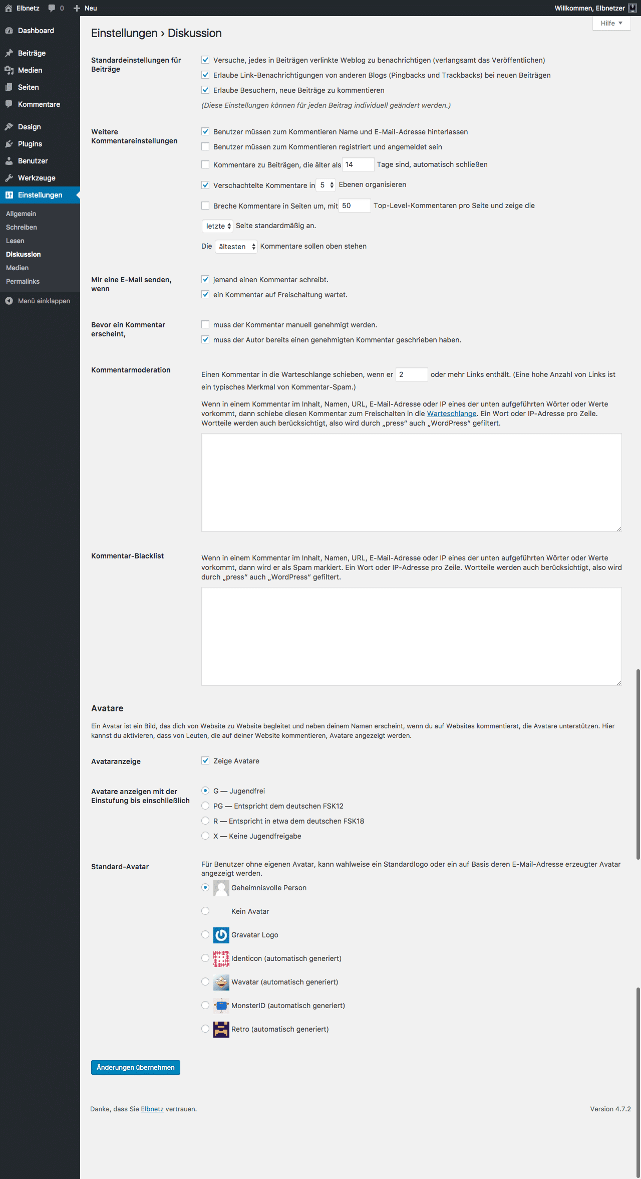 Screenshot WordPress-Einstellungen - Diskussion