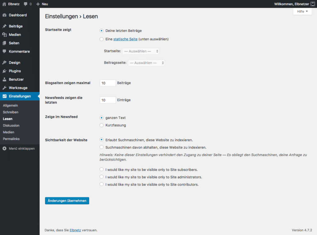 Screenshot WordPress-Einstellungen - Lesen