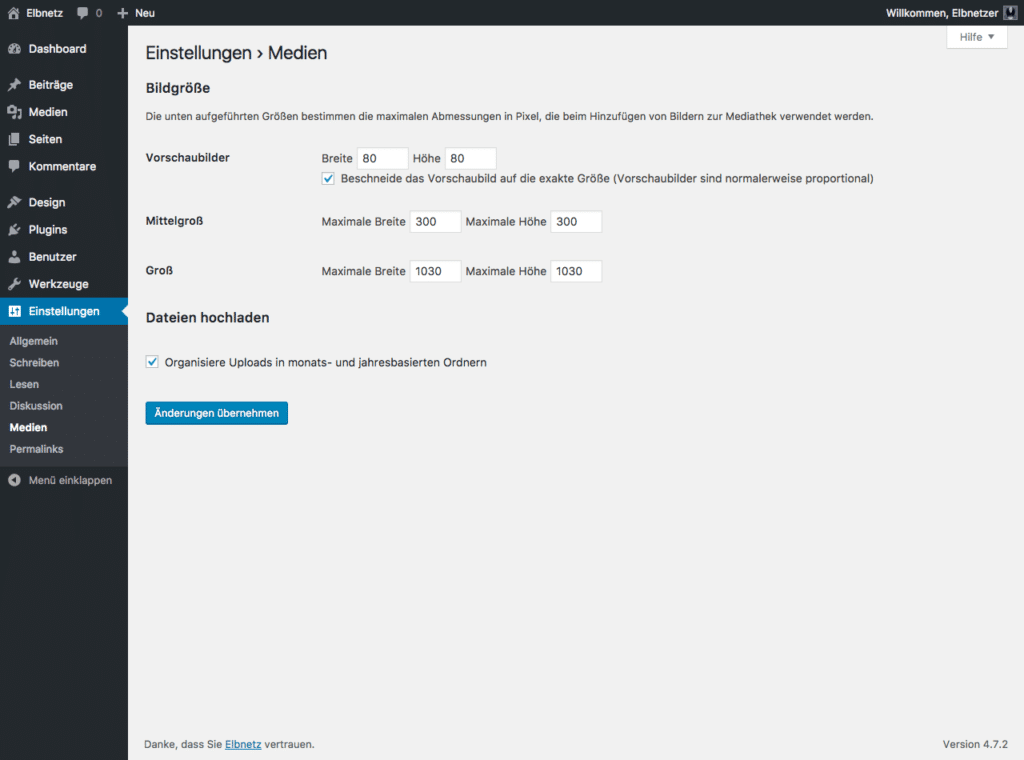 Screenshot WordPress-Einstellungen - Medien