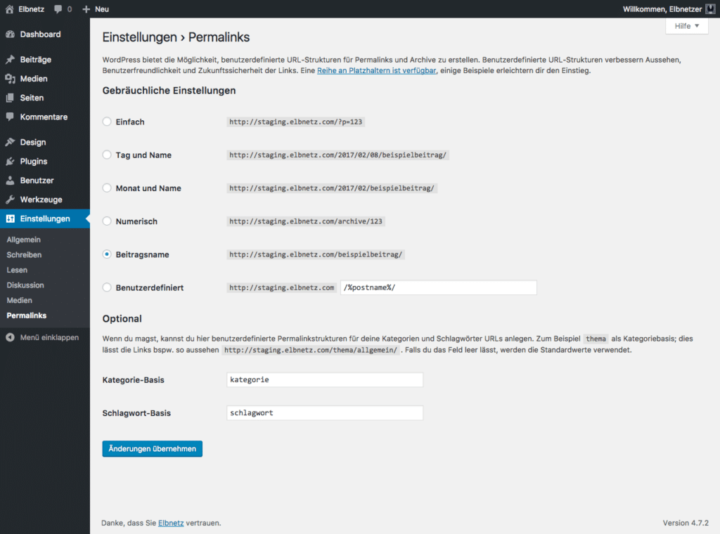 Screenshot WordPress-Einstellungen - Permalinks