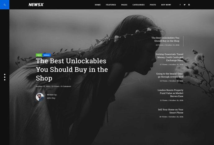 NewsX - Powerful Blog and Magazine WordPress theme
