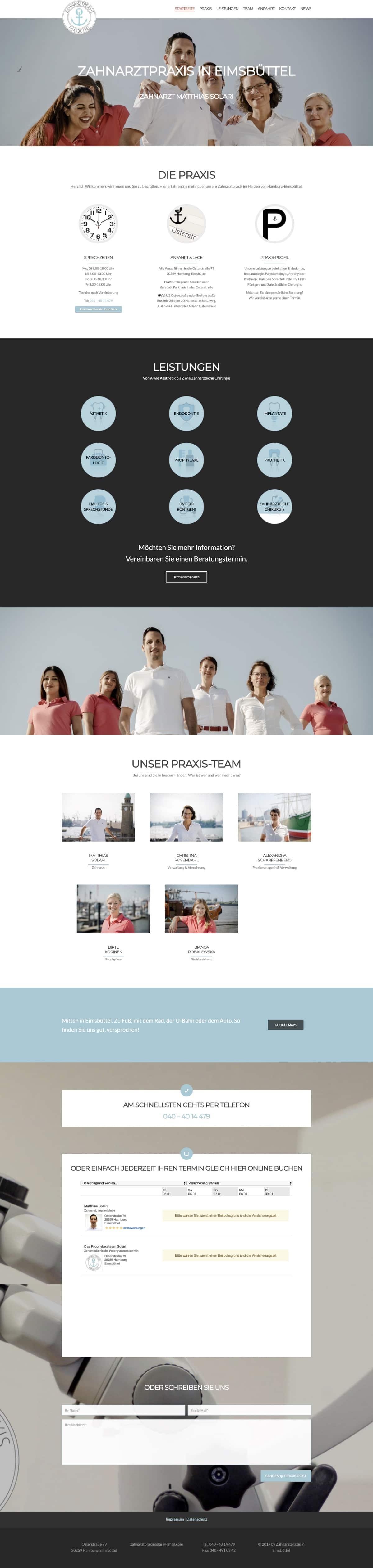 Website Zahnarztpraxis in Eimsbüttel