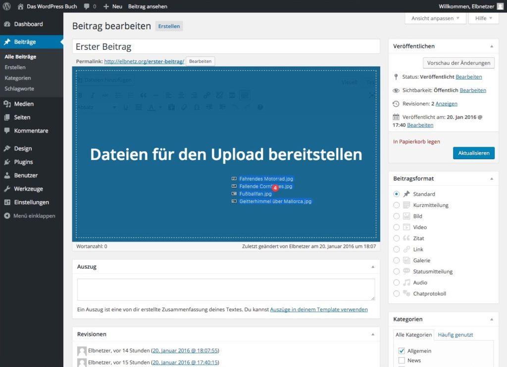 WordPress Drag Drop Bilderupload