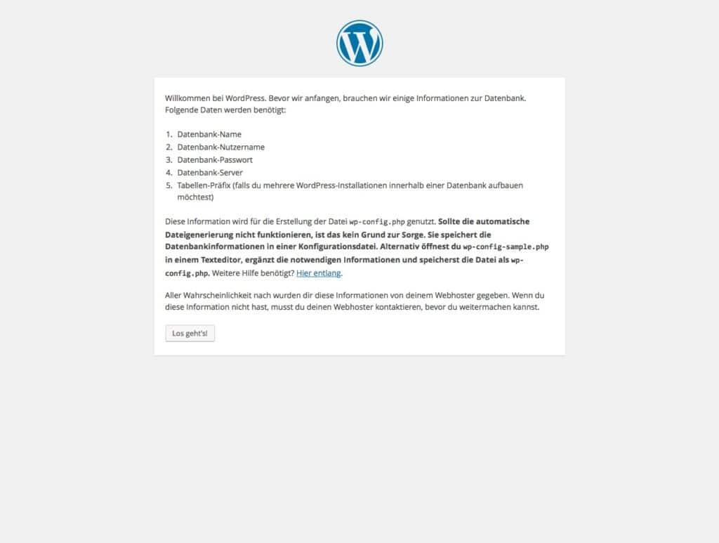 WordPress-Installation: Benötigte Daten