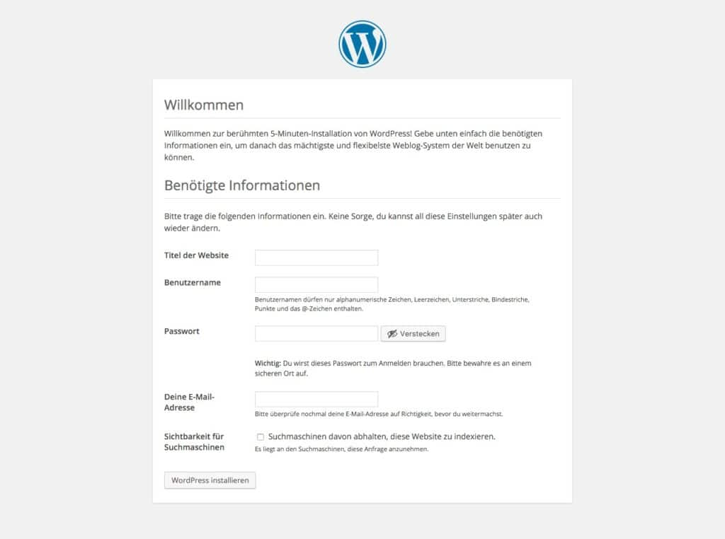 WordPress-Installation: Dateneingabe