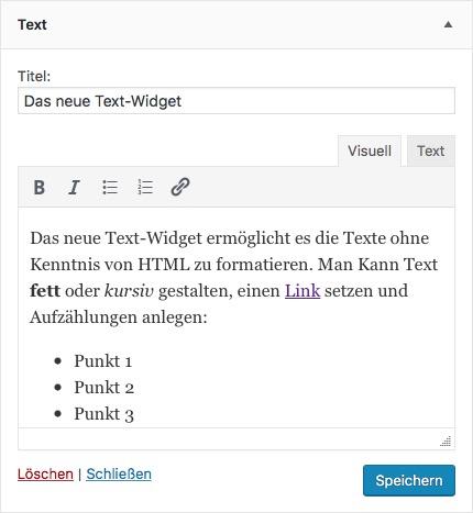 Das WordPress Rich-Text-Widget