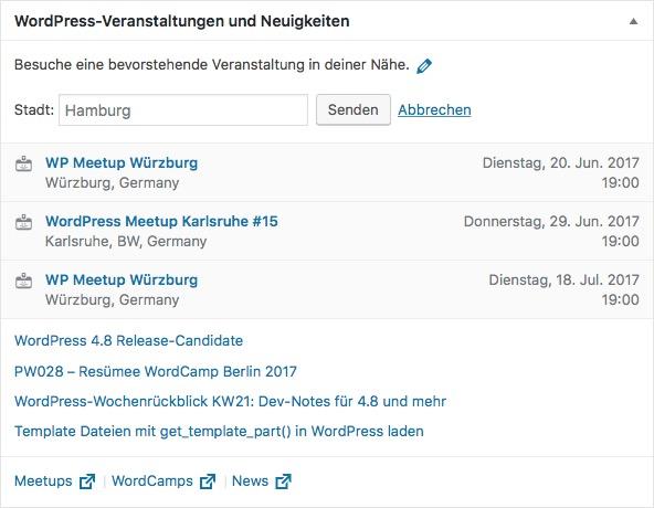 WordPress Veranstaltungshinweise in WordPress 4.8