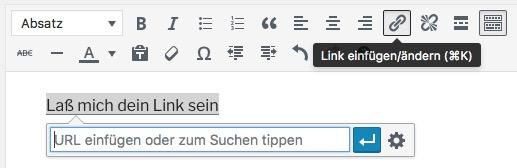 WordPress-Werkzeugleiste: Link einfügen