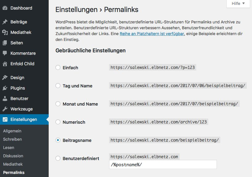 Die Permalinks in WordPress anpassen