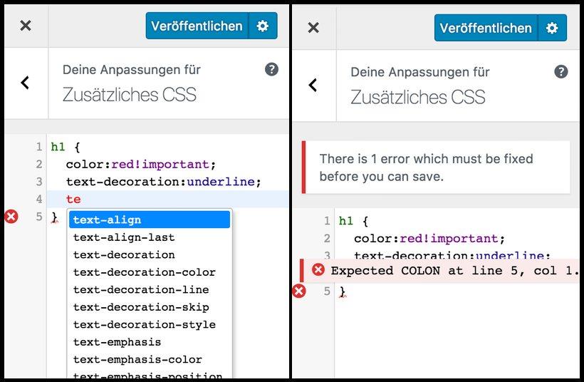 Zusätzliches CSS enthält neue Funktionen