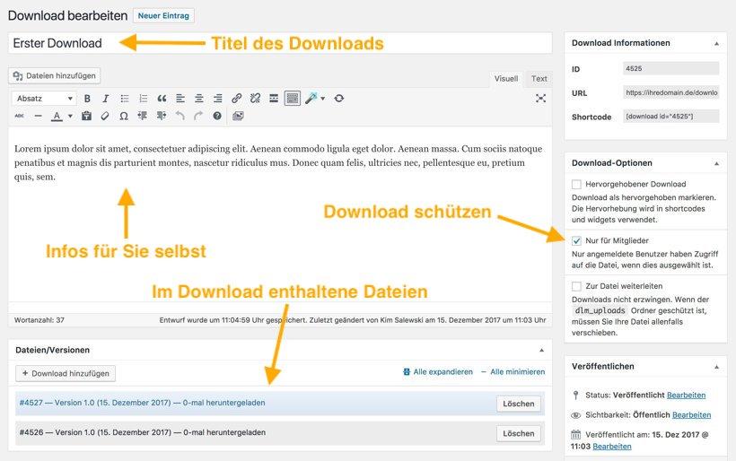 Neuen Download anlegen und schützen