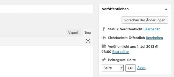"""Ändern des Post Types über die """"Veröffentlichen""""-Sektion"""