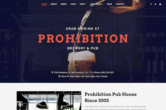 Prohibition - Brewery and Restaurant Theme