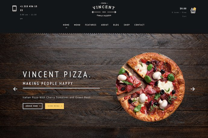 Restaurant WordPress - Vincent Pizza Restaurant