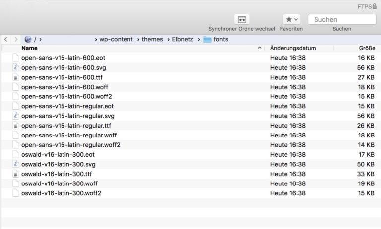 Google Fonts per FTP auf den Webserver hochladen