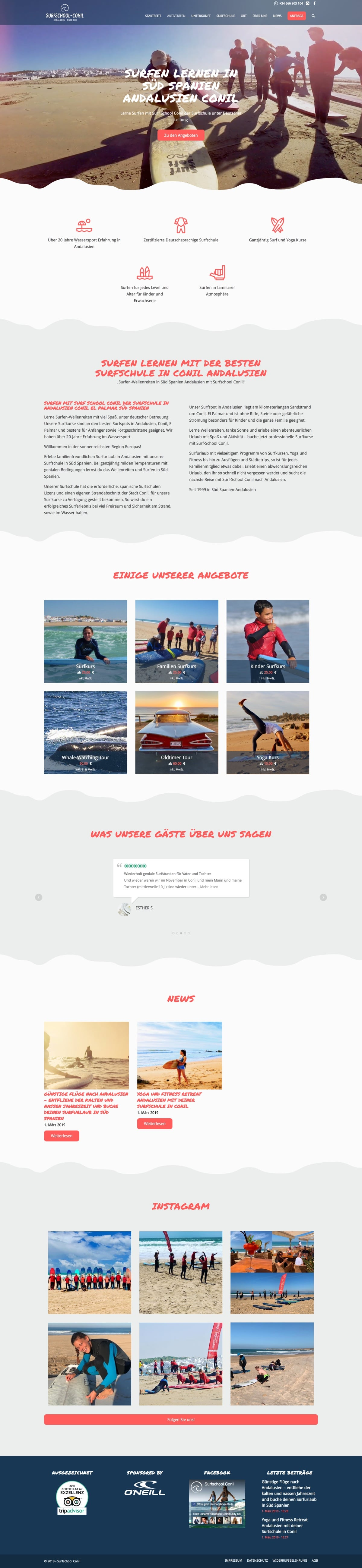 Website Surfschool Conil