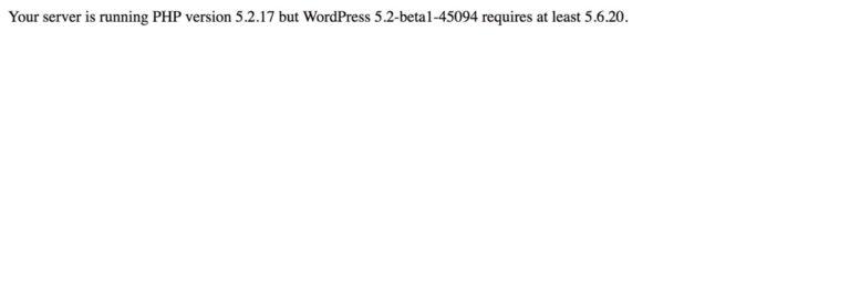 WordPress 5.2 minimal erforderliche PHP-Version 5.6