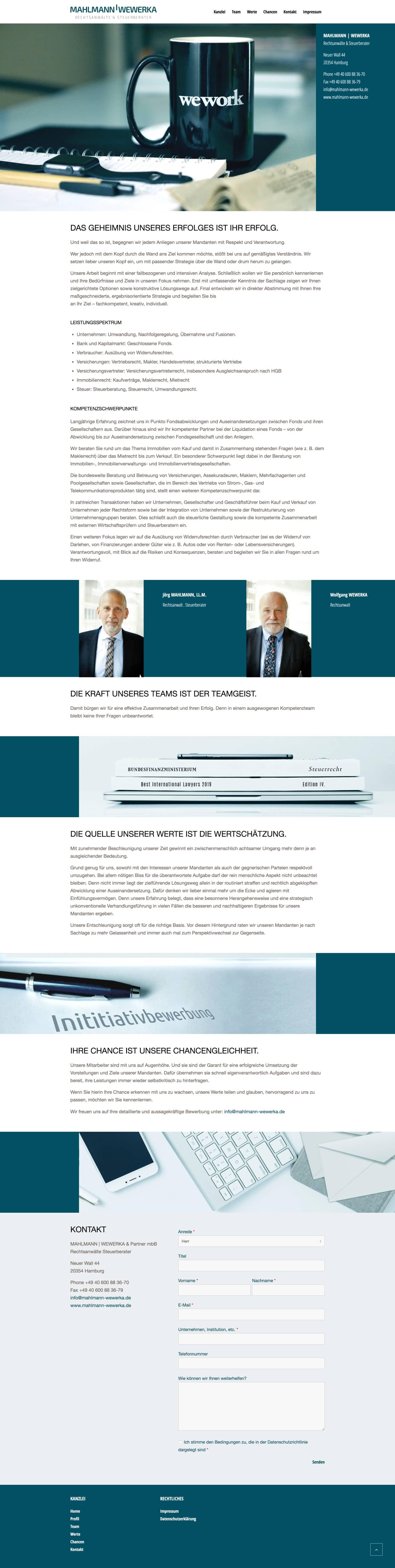 Kanzlei Mahlmann Website