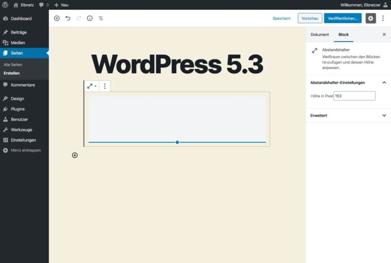 WordPress 5.3 - Praktischer Abstandhalter-Block