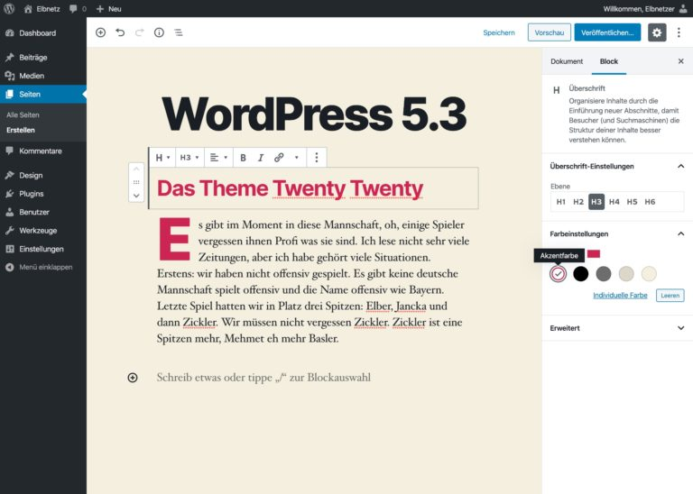WordPress 5.3 - Bessere Editor-Vorschau