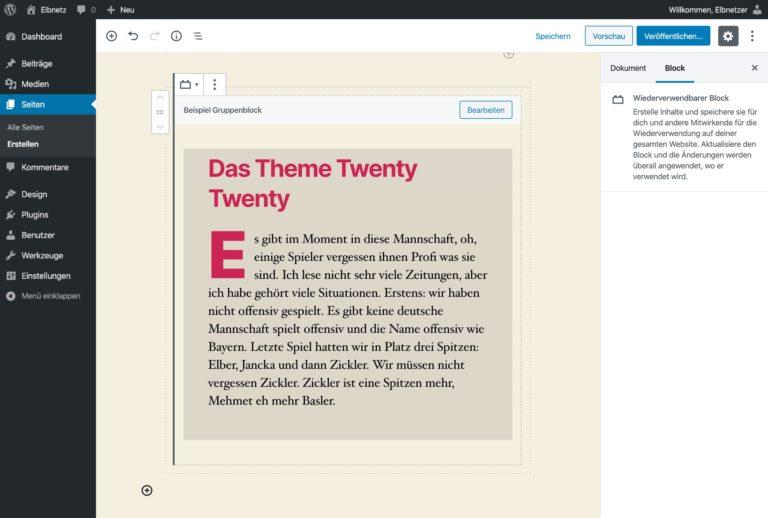 WordPress 5.3 - Einführung der Gruppenblocks